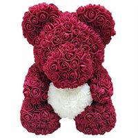 Discount love bubbles Rose Bear Simulation Rose Bear Creative Christmas Valentine's Day Birthday Gift Bubble Rose Bear love 25cm