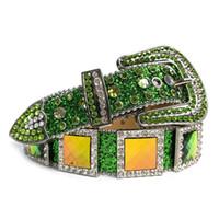Wholesale green belts resale online - New Design Western Rhinestone Belt Cowgirl Cowboy Green Bling Bling Crystal Studded Leather Belt Pin Buckle For Men Women
