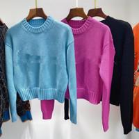 1101 2020 Autumn Brand Same Style Regular Long Sleeve Crew Neck Kint Sweater Pink Black Women Clothes QIAN