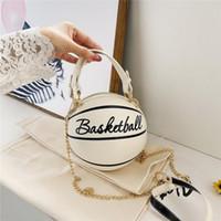 Wholesale woman design hand bag resale online - New Design Basketball Shape Hand Bag Fashion Women Chains Handbag Letter Shoulder Bag Female Mini Crossbody Bags Circular Purse