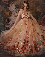 Wholesale champagne flower girls dresses resale online - Champagne Lace Flower Girl Dresses Ball Gown Tulle Pearls Little Girl Wedding Dresses Cheap Communion Pageant Dresses Gowns ZJ708