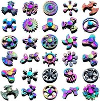 Discount plating metal hand spinners Rainbow metal fidget spinner star flower skull dragon wing hand spinner for Autism ADHD decompression anxiety stress EDC fidget toys