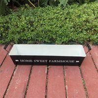 51.5xH10.5CM Long Metal Planter Large Black Succulent Pot Farmhouse Decor Home Sweet Farm Ornament