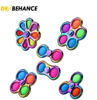 2021 Original Alloy Colorful Fidget Toys Simple Dimple Bubble Fidgets Spinner Children Adult Stress Relief and Anti-Anxiety Toy 50X