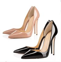 With Box New Red Bottom Fashion High Heels For Women Party Wedding Triple Black Nude Yellow Pink Glitter Spikes Pointed Toes Pumps Dress Shoes Red Soles