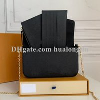 Women Messenger Leather handbag Evening Bag Original box high quality flower checkers date code serial number embossed patterns