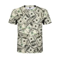Discount hip hop shirt xxl New product dollar creative T-shirt mens hip-hop short-sleeved summer fashion T-shirt handsome personality casual mens shirt