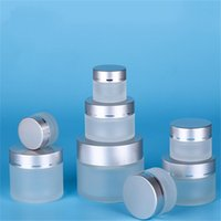 5g 10g 15g 20g 30g 50g Frosted Glass Cosmetic Jar Empty Face Cream Storage Container Refillable Sample Bottle with Silver Lids