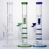 12 Inch Hookahs Triple Perc Glass Bong Straight Tube Birdcage Percolator Water Pipes Big Bongs 18mm Joint Oil Dab Rigs With Bowl