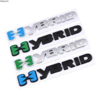 Wholesale volkswagen decals resale online - Car Sticker HYBRID Logo Emblem Chrome Badge Decals for Toyota Camry Volkswagen Subaru Honda Prosche Cayene Auto styling