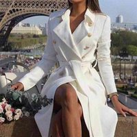 Womens Winter White Double Breasted Trench Coat Sashes Turn Down Collar Long Trenchs Female Spring Office Outwear Ladies T200908