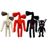 Discount boy puppets 33cm Anime Siren Head Plush Doll Toys Scary Black White Red Sirenhead Cat Peanut Soft Cartoon Stuffed Figure Children Gifts