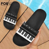 Discount key house FORUDESIGNS Women Shoes Piano Keys Printed Female Casual Summer House Slippers Shoes Music Note Flats Ladies Fashion Flip Flop
