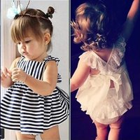 Discount sleeveless trench KT INS Wholesale Baby Kids Girls Clothing Sets Sleeveless Stripes Dresses with Lace Shorts 2Pieces Summer
