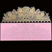 minsunbak New Lace Silicone Mould Exquisite Wedding Cake Edge Decoration Fondant Lace Mat Food Grade Silicone 210225