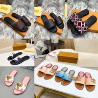 Luxury flat sandal design embroidery black slippers shallow beach leisure indoor lace lock box full set of accessories 35-41 13019