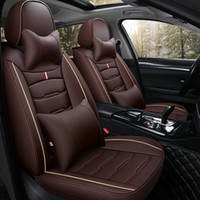 Car Seat Covers Full Set For Mazda Durable Leather Adjuatable Five Seats Cushion Mats Crown Design coffee