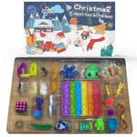 DHL Tiktok Favor Christmas Advent Sensory Calendars Fidget Toys Gift Box Xmas Gifts For Children Kids Push Bubble Autism Stress Relief Anti Anxiety