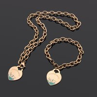 Brands New Jewelry Stainless Vintage C Charms enamel heart Pendant Luxury Women Men Sun Gold Chunky chain Necklace and Earring Jewelry set