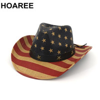 Discount straw flags HOAREE Straw Cowboy Hat Women American Flag Retro Western Cowboy Hat FemaleSummer Beach Vintage Wide Brim Sun Hat Q0305