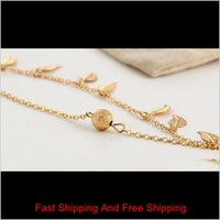 Women Gold Leaf Charm Anklets Real Pos Gold Chain Ankle Bracelet Fashion 18k Gold Ankle Bracelets jllhBG nana_jewel