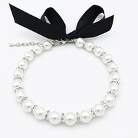 Wholesale Dog Apparel Pet Pearls Necklace Collar Jewelry Bling Rhinestones Puppy Cat Wedding Accessories For Female Dogs Cats Pets
