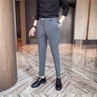 Discount pants man game High Quality Formal Business Pants Casual Men's Clothes Spring 2021 New All Korean Games Fine Office Adjustment 36-29 Icig