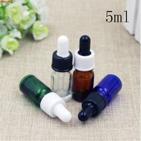 Discount free samples perfume 50pcs 5ml Clear Brown Glass Empty Bottles Dropper Perfume Pack Mini ESSential Oil Sample Packaging Containers Free Shipping high qualtity
