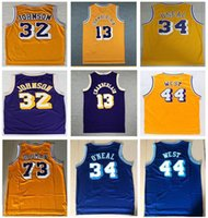 Mens Sports Vintage 73# Rodman Shaquille #34 O Neal Jersey #32 Johnson Jersey Purple Yellow 13# Wilt Chamberlain Jerry 44# West Jerseys Shirt