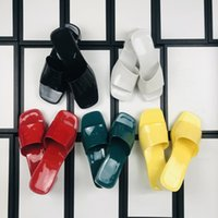 woman jelly slippers fashion Beach Thick bottom slipper platform Alphabet lady Sandals Leather High heel slides slide top quality with box