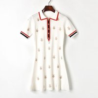 Discount runway embroidery designer dress Button Designer Dress Sleeve Turn Embroidery Short Bees Down Dresses Fashion Contrast Collar Knitted Runway Embroidery Women Vatbg