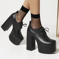 Discount shoelaces styles 2021 Brand Fashion Gothic Style Big Size 46 Thick Platform Extreme High Heels Shoelaces Casual Pumps Woman Shoes