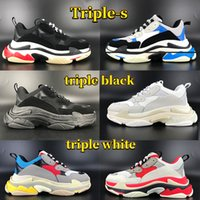 Top quality triple-s men running shoes beige green yellow black blue pink white red multi-color rose gold mens sneakers women trainers US 6-12