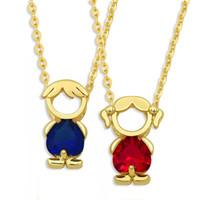 gold chain designs boy 2021 - FLOLA Cute Boy Girl Kids Pendant Necklace For Women Gold Chain Red Stone Friendship Necklace New Design Family Jewelry nkes69
