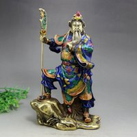 Cloisonne enamel Copper crafts Archaize do old Buddha ornament GuanYu Buddha guan gong statue figure Guan yu figurine Antique