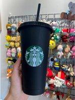 Starbucks 24oz 710ml Plastic Tumbler Reusable Black Drinking Flat Bottom Cup Pillar Shape Lid Straw Mug