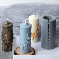 Big Silicone Pillar Candle Molds Cylindrical Mould Column Vintage Flowers DIY Scented Candles Making Mold