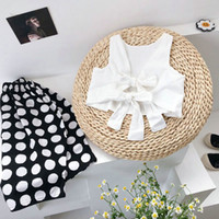 korean summer outfit wholesale 2021 - SK INS Summer Korean Kids Girls Suits Sleeveless Bow Belt Tees + Polka Dot Pants 2Pieces Outfits Cotton Vest Bountique Clothes