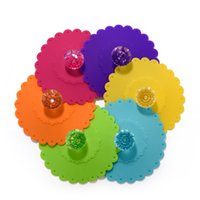 Cup Cover Sealing Cap Bowl Lids Silicone Suction with Diamond Knob Outdoor Drink MY-inf0311