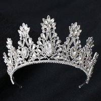rhinestone crowns for queens 2021 - Kmvexo Fashion Big Drop Crystal Wedding Diadem Rhinestone Queen Tiaras And Crowns Headbands For Bride Hair Jewelry Accessories 210203