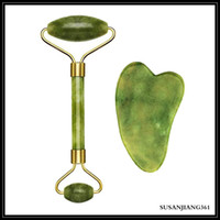 EPACK Jade Roller & Gua Sha Scrapping Tool Set Aging Facial Massager,Authentic Jade Stone Roller for Face,Natural f