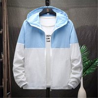 2021 Spring and Summer Men's Soft Shell Jacket Ultra-thin Breathable Contrast Color Stitching Hooded 3xl Large Size Quick-drying Sports Outdoor Windbreaker