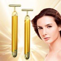 24k Gold Face Lift Bar Roller Vibration Slimming Massager Facial Stick Facial Beauty Skin Care T Shaped Vibrating Tool
