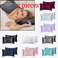 FATAPAESE Solid A+ Silky Satin Skin Care Pillowcase Hair Anti Pillow Case Queen King Full Size Pillow Cover