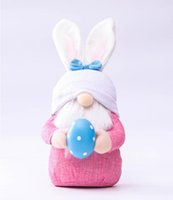Discount wholesale elf decor Easter Cute Faceless Stuff Plush Doll Gnome Bunny Decoration Handmade Rabbit Elf Plush Toys Doll Home Decor Easter