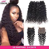 Brazilian Water Wave Human Hair Bundles With Closure Peruvian Wet and Wavy Hair 4 Bundles Malaysian Body Deep Loose Straight Hair Extensions