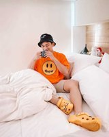 Discount cotton justin bieber short Justin Bieber same drew smile orange sleeve fog high street casual loose men's and women's cotton T-shirt