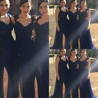 Discount draped bridesmaids dresses 2021 Cheap Navy Blue Bridesmaids Dresses Lace Appliques Beads Chiffon Side Split Country African Formal Plus Size Maid Of Honors Prom Gowns