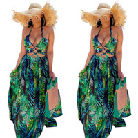 Green Leaves Printing Women Holidays Dresses Sexy Halter Neck Backless Hollow Out A line Party Gowns Real Image Summer Beach Dress 2021