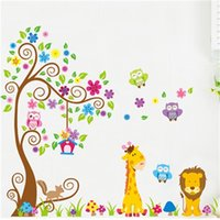 Discount adornment wall stickers Kindergarten child room decorates a cute owl flower stickers in household adornment to stick on the wall 210308